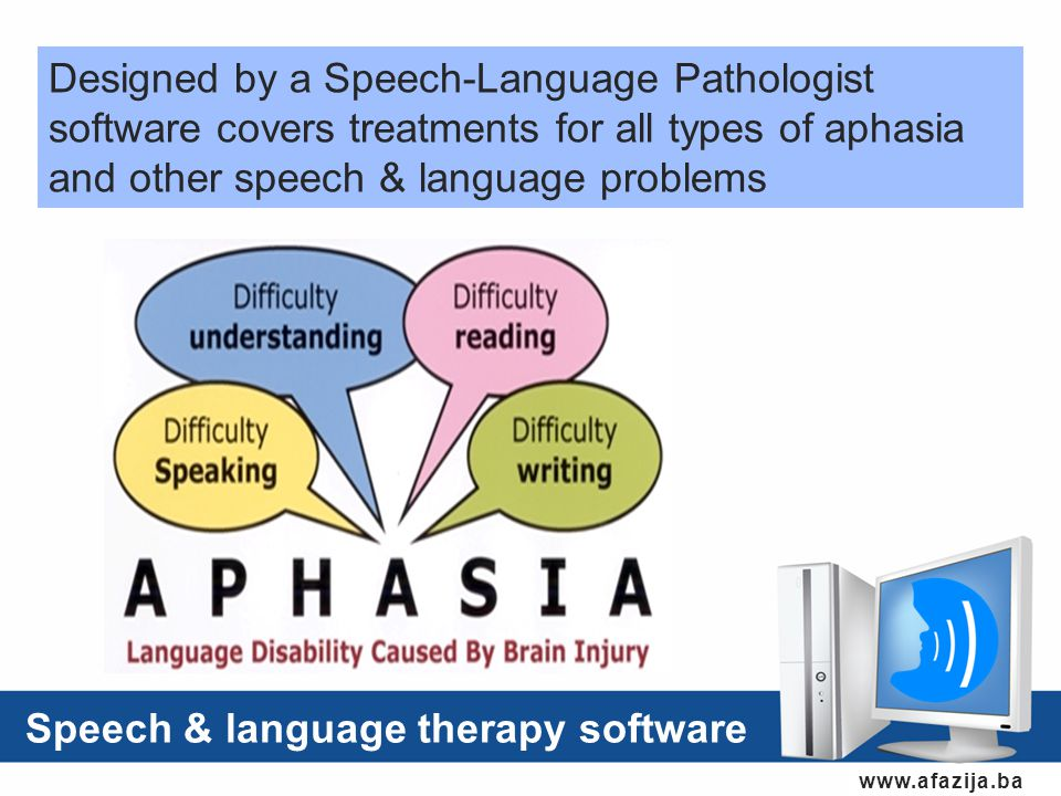 www.afazija.ba Designed by a Speech-Language Pathologist software covers treatments for all types of aphasia and other speech & language problems Speech & language therapy software