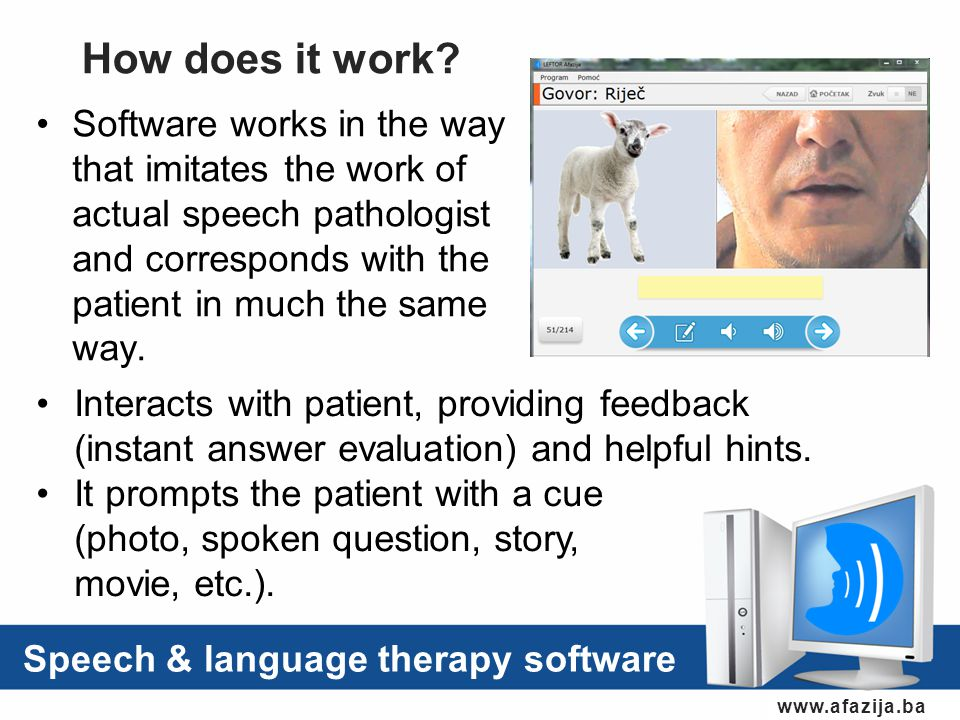 Software works in the way that imitates the work of actual speech pathologist and corresponds with the patient in much the same way.