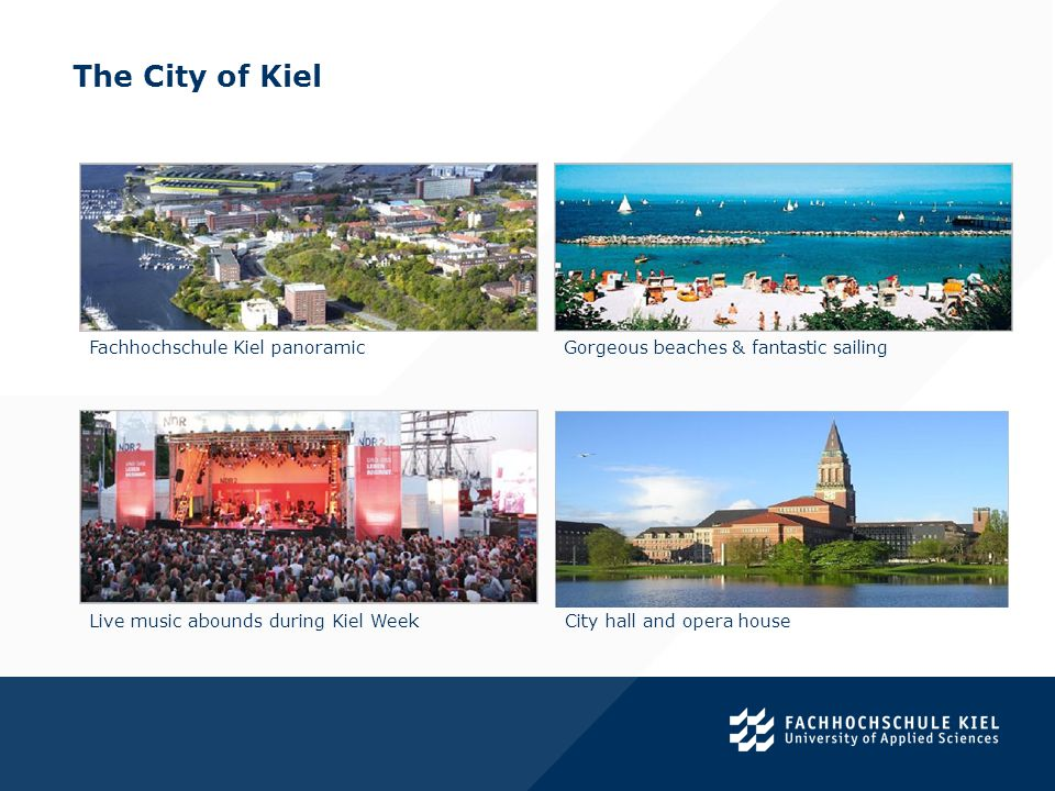 The City of Kiel. Fachhochschule Kiel panoramic Gorgeous beaches & fantastic sailing Live music abounds during Kiel WeekCity hall and opera house