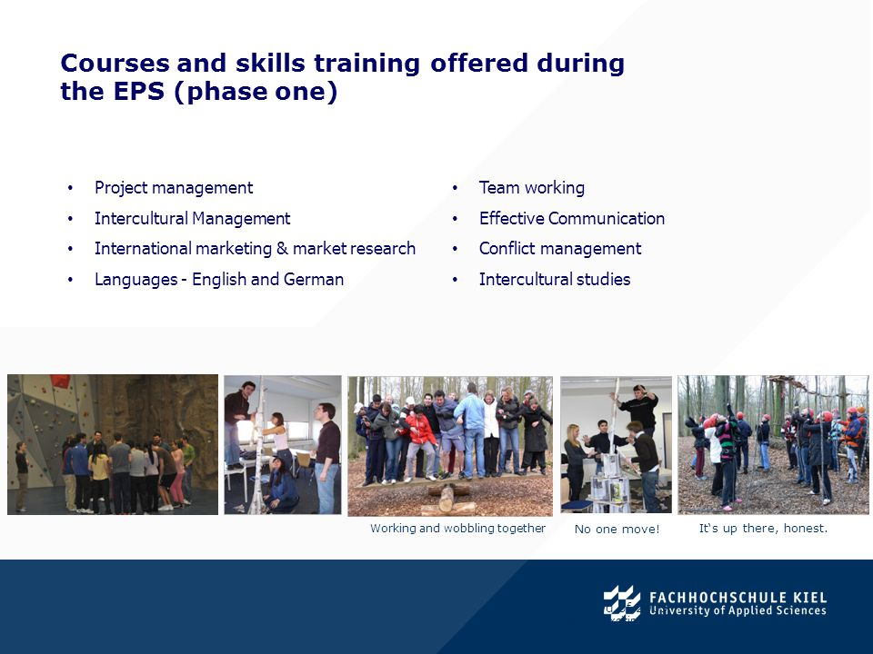 Courses and skills training offered during the EPS (phase one). Project management Intercultural Management International marketing & market research