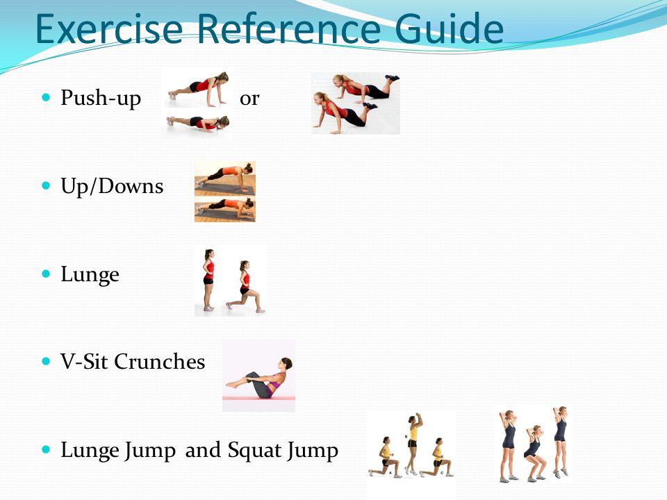 Exercise Reference Guide Push-up or Up/Downs Lunge V-Sit Crunches Lunge Jump and Squat Jump