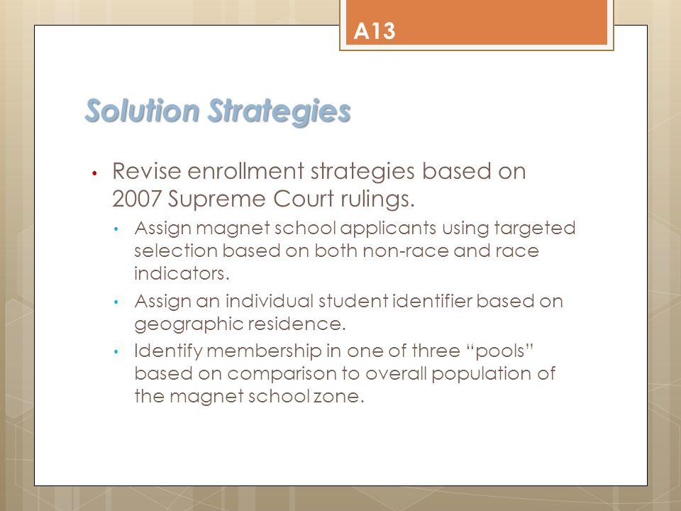 Solution Strategies Revise enrollment strategies based on 2007 Supreme Court rulings.