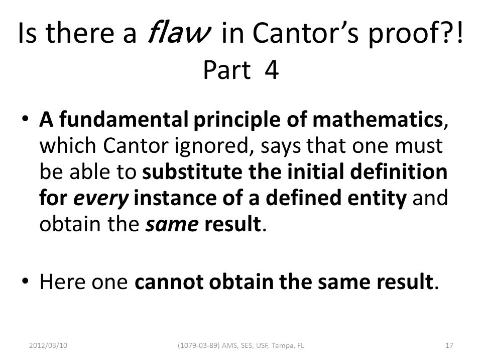 Is there a flaw in Cantor's proof?.
