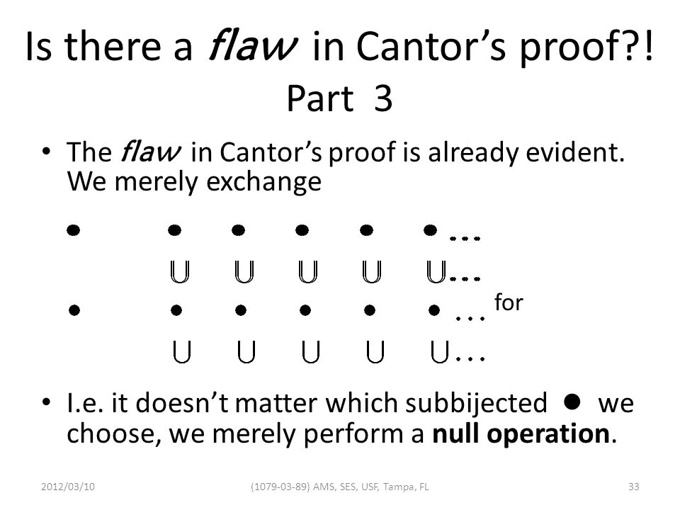 Is there a flaw in Cantor's proof . Part 3 The flaw in Cantor's proof is already evident.