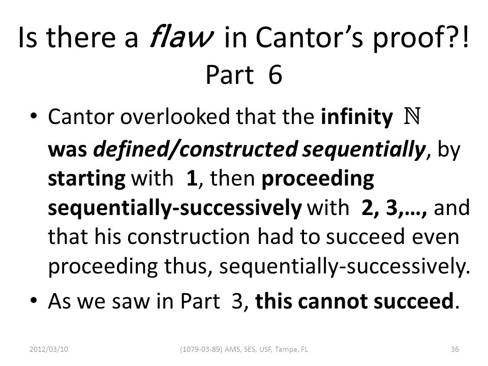 Is there a flaw in Cantor's proof .