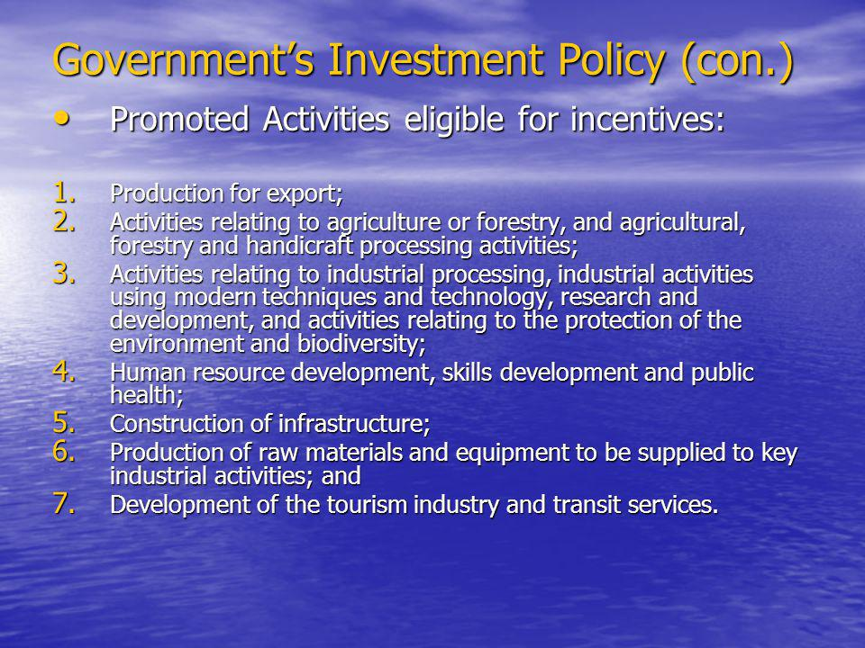 Promoted Activities eligible for incentives: Promoted Activities eligible for incentives: 1.