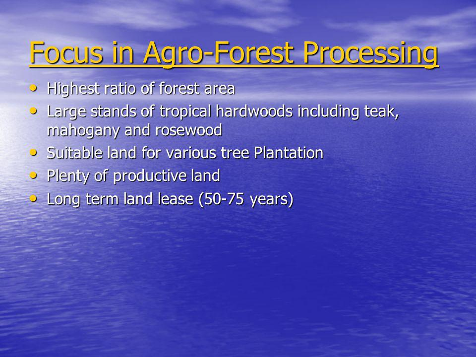 Focus in Agro-Forest Processing Highest ratio of forest area Highest ratio of forest area Large stands of tropical hardwoods including teak, mahogany and rosewood Large stands of tropical hardwoods including teak, mahogany and rosewood Suitable land for various tree Plantation Suitable land for various tree Plantation Plenty of productive land Plenty of productive land Long term land lease (50-75 years) Long term land lease (50-75 years)