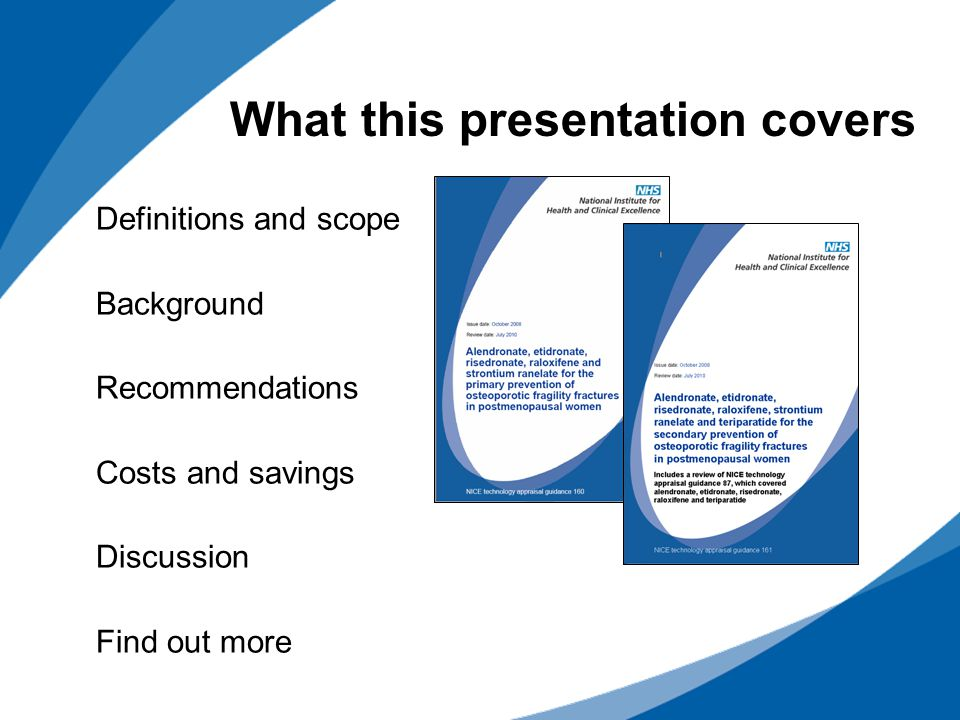 Definitions and scope Background Recommendations Costs and savings Discussion Find out more What this presentation covers