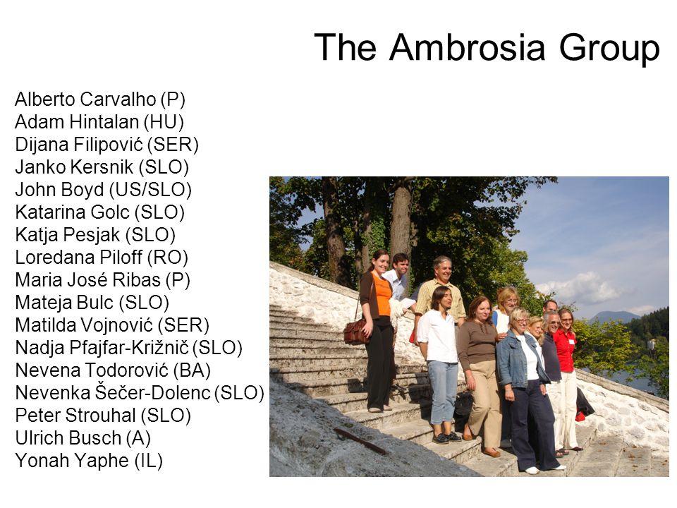 The Ambrosia Group Alberto Carvalho (P) Adam Hintalan (HU) Dijana Filipović (SER) Janko Kersnik (SLO) John Boyd (US/SLO) Katarina Golc (SLO) Katja Pesjak (SLO) Loredana Piloff (RO) Maria José Ribas (P) Mateja Bulc (SLO) Matilda Vojnović (SER) Nadja Pfajfar-Križnič (SLO) Nevena Todorović (BA) Nevenka Šečer-Dolenc (SLO) Peter Strouhal (SLO) Ulrich Busch (A) Yonah Yaphe (IL)