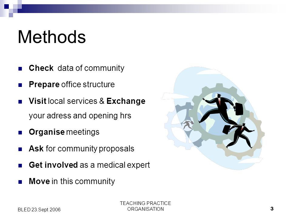TEACHING PRACTICE ORGANISATION3 BLED 23.Sept 2006 Methods Check data of community Prepare office structure Visit local services & Exchange your adress and opening hrs Organise meetings Ask for community proposals Get involved as a medical expert Move in this community