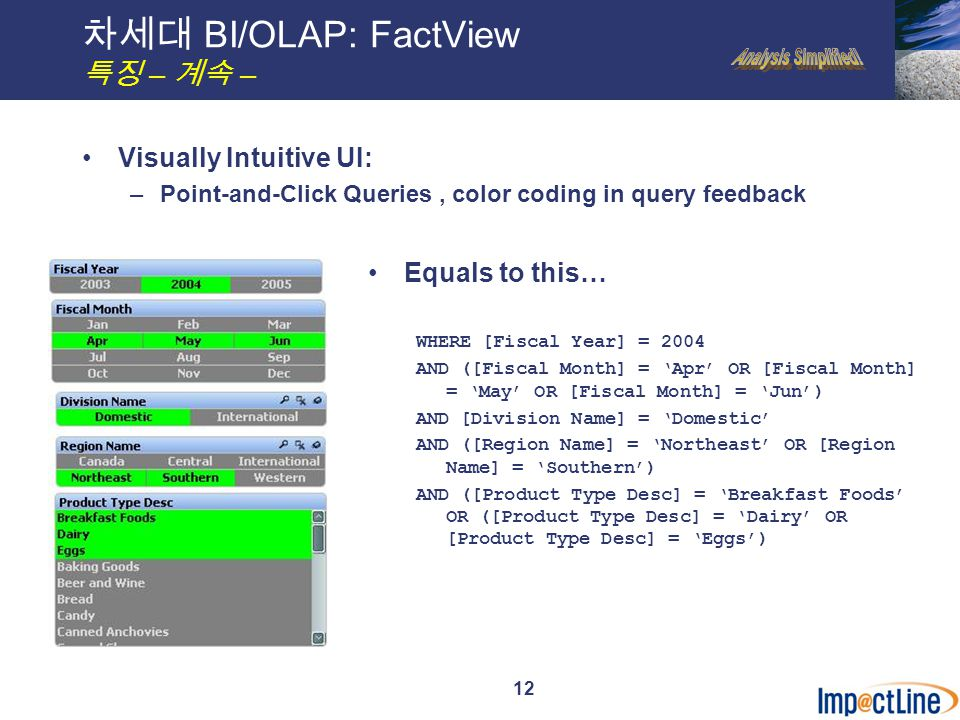 12 차세대 BI/OLAP: FactView 특징 – 계속 – Visually Intuitive UI: –Point-and-Click Queries, color coding in query feedback Equals to this… WHERE [Fiscal Year] = 2004 AND ([Fiscal Month] = 'Apr' OR [Fiscal Month] = 'May' OR [Fiscal Month] = 'Jun') AND [Division Name] = 'Domestic' AND ([Region Name] = 'Northeast' OR [Region Name] = 'Southern') AND ([Product Type Desc] = 'Breakfast Foods' OR ([Product Type Desc] = 'Dairy' OR [Product Type Desc] = 'Eggs')