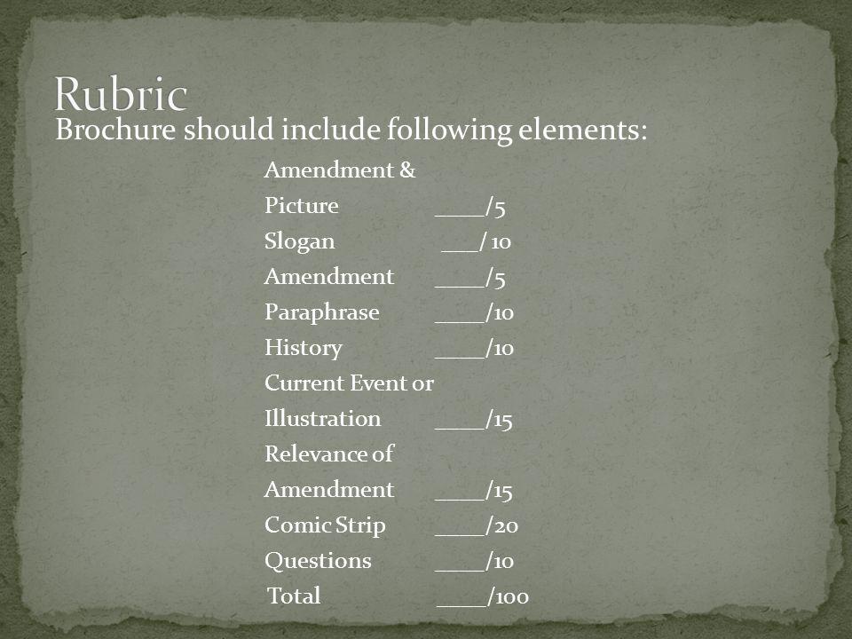 Brochure should include following elements: Amendment & Picture____/5 Slogan ___/ 10 Amendment ____/5 Paraphrase____/10 History ____/10 Current Event