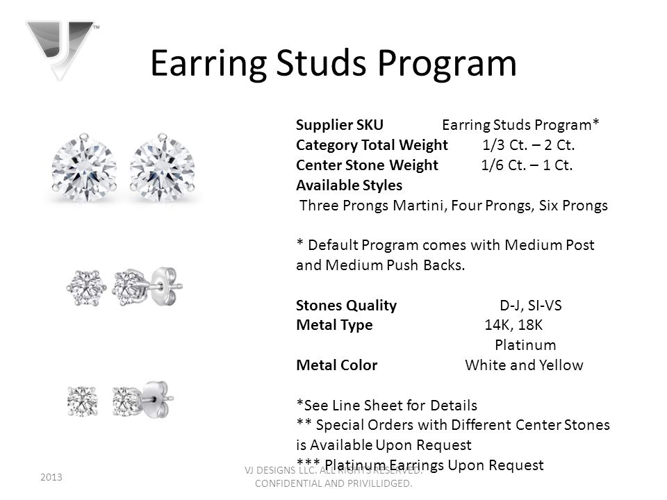 Earring Studs Program VJ DESIGNS LLC. ALL RIGHTS RESERVED.