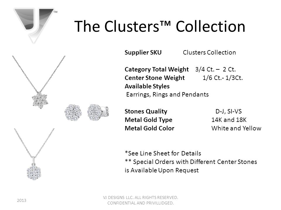 The Clusters™ Collection 2013 VJ DESIGNS LLC. ALL RIGHTS RESERVED.