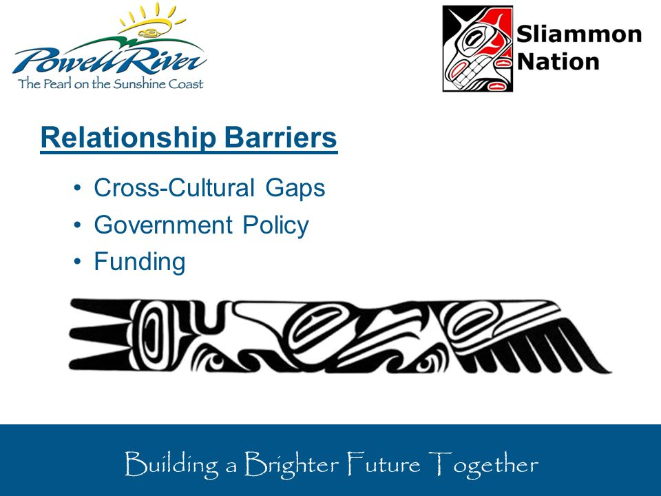 Relationship Barriers Cross-Cultural Gaps Government Policy Funding Building a Brighter Future Together