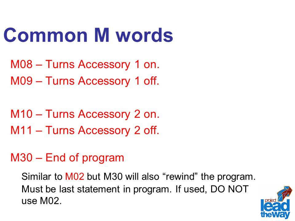 M08 – Turns Accessory 1 on. M09 – Turns Accessory 1 off. M10 – Turns Accessory 2 on. M11 – Turns Accessory 2 off. M30 – End of program Similar to M02