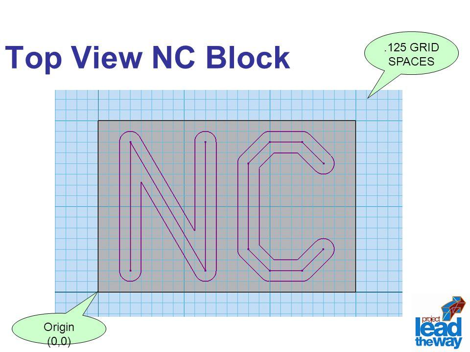 Top View NC Block.125 GRID SPACES Origin (0,0)