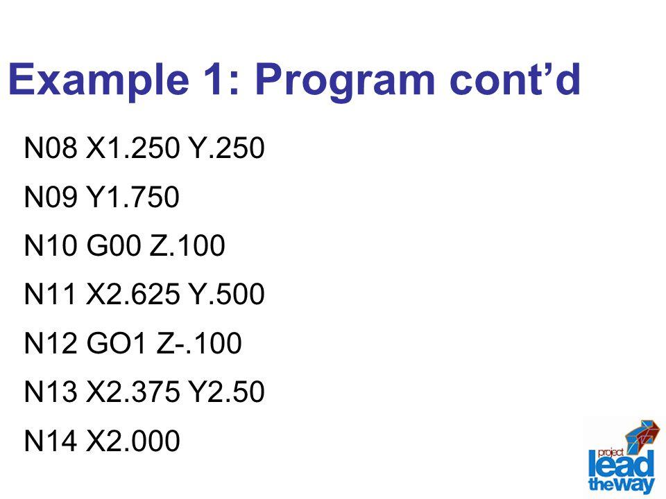 Example 1: Program cont'd N08 X1.250 Y.250 N09 Y1.750 N10 G00 Z.100 N11 X2.625 Y.500 N12 GO1 Z-.100 N13 X2.375 Y2.50 N14 X2.000