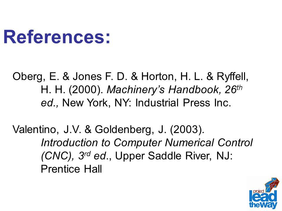 References: Oberg, E. & Jones F. D. & Horton, H. L. & Ryffell, H. H. (2000). Machinery's Handbook, 26 th ed., New York, NY: Industrial Press Inc. Vale