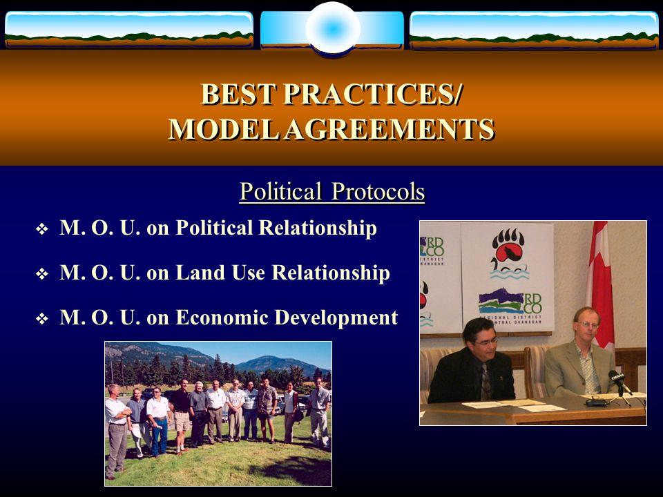  M. O. U. on Political Relationship  M. O. U. on Land Use Relationship  M. O. U. on Economic Development BEST PRACTICES/ MODEL AGREEMENTS BEST PRAC