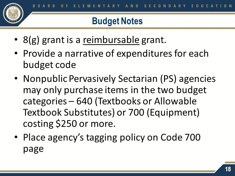 Budget Notes 8(g) grant is a reimbursable grant. Provide a narrative of expenditures for each budget code Nonpublic Pervasively Sectarian (PS) agencie