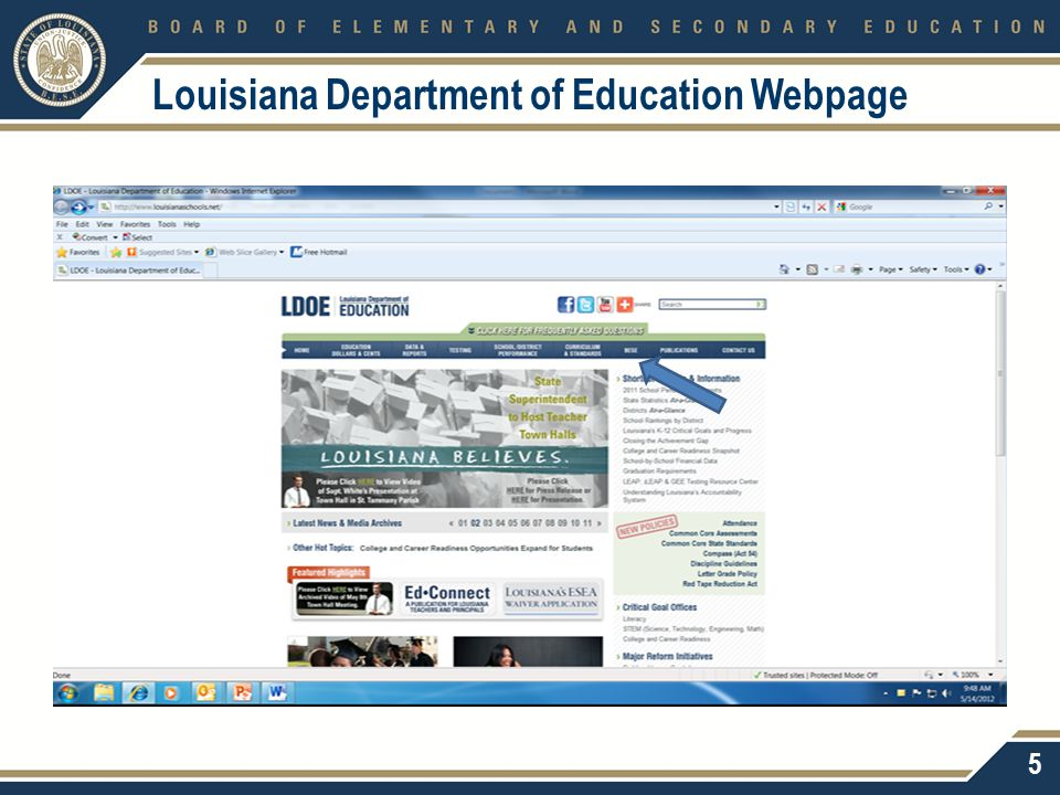Louisiana Department of Education Webpage 5