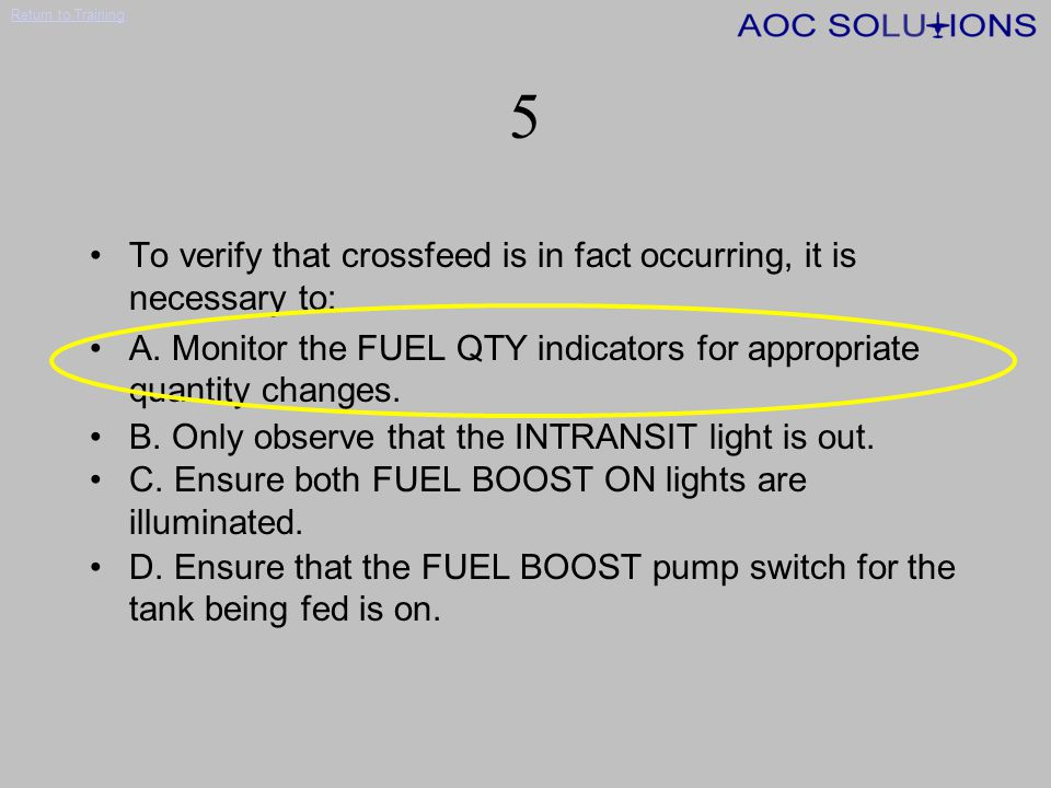 Return to Training 4 If the L or R FUEL BOOST ON annunciators illuminate without any action by the crew (engine operating normally), the probable cause is: A.