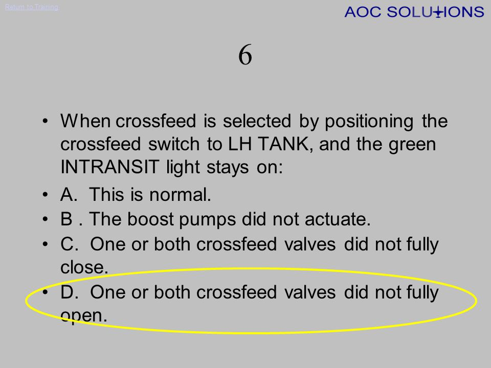 Return to Training 5 To verify that crossfeed is in fact occurring, it is necessary to: A.