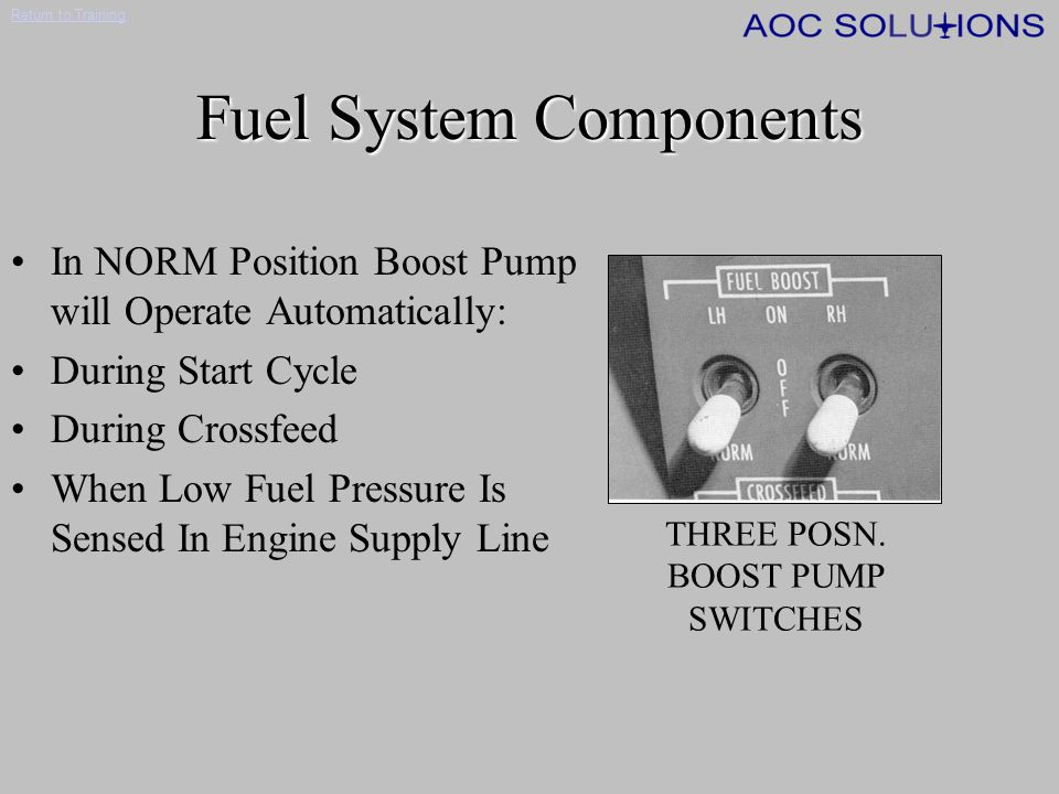 Return to Training AVGAS Limitations AVGAS is permitted under the following conditions Fuel temp.