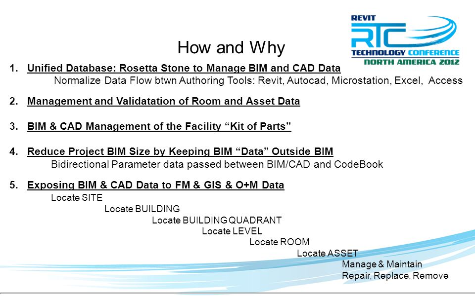 1.Unified Database: Rosetta Stone to Manage BIM and CAD Data Normalize Data Flow btwn Authoring Tools: Revit, Autocad, Microstation, Excel, Access 2.Management and Validatation of Room and Asset Data 3.BIM & CAD Management of the Facility Kit of Parts 4.Reduce Project BIM Size by Keeping BIM Data Outside BIM Bidirectional Parameter data passed between BIM/CAD and CodeBook 5.Exposing BIM & CAD Data to FM & GIS & O+M Data Locate SITE Locate BUILDING Locate BUILDING QUADRANT Locate LEVEL Locate ROOM Locate ASSET Manage & Maintain Repair, Replace, Remove How and Why