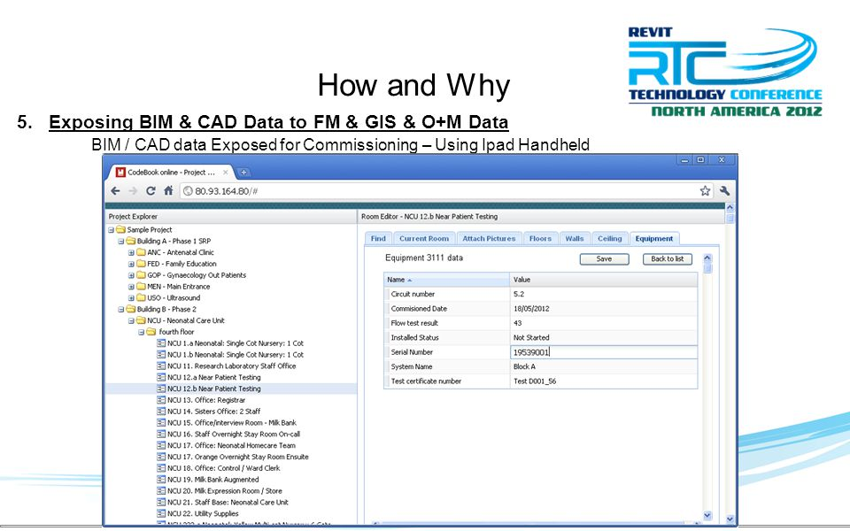 5.Exposing BIM & CAD Data to FM & GIS & O+M Data BIM / CAD data Exposed for Commissioning – Using Ipad Handheld How and Why