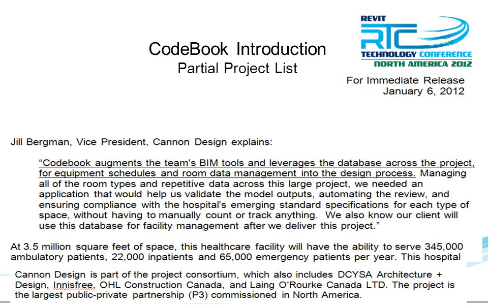 CodeBook Introduction Partial Project List