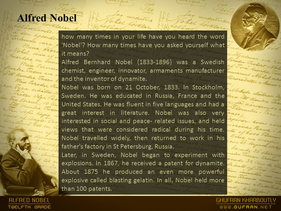how many times in your life have you heard the word Nobel .