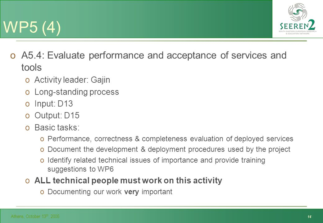Athens, October 13 th, 2005 14 WP5 (4) oA5.4: Evaluate performance and acceptance of services and tools oActivity leader: Gajin oLong-standing process oInput: D13 oOutput: D15 oBasic tasks: oPerformance, correctness & completeness evaluation of deployed services oDocument the development & deployment procedures used by the project oIdentify related technical issues of importance and provide training suggestions to WP6 oALL technical people must work on this activity oDocumenting our work very important