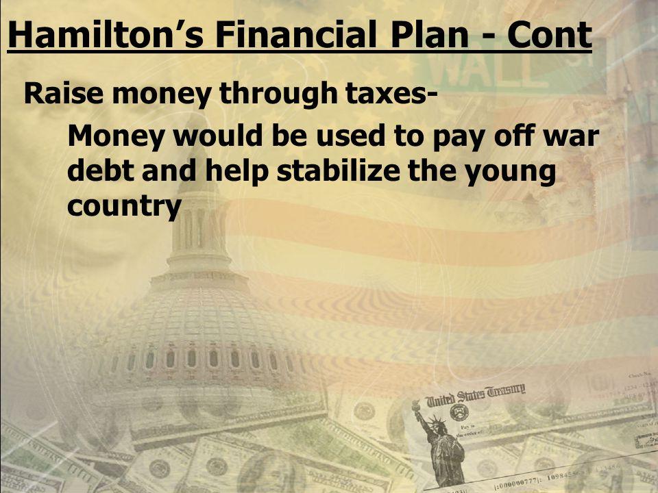 MONEY Alexander Hamilton, Secretary of the Treasury –Proposal to strengthen the economy (financial system) National Taxes National Bank Protective Tar