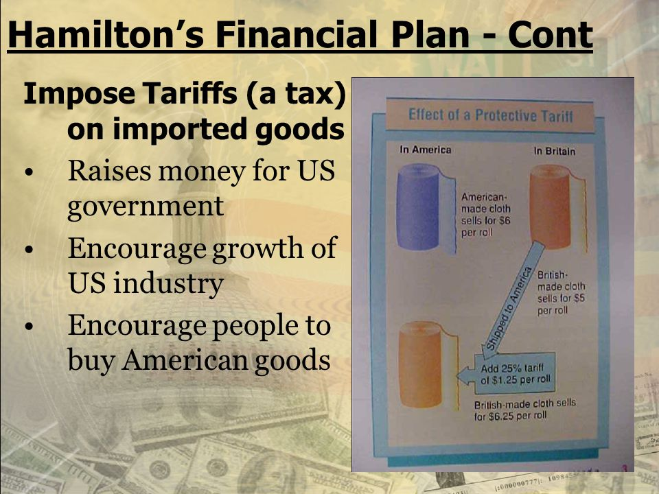 Hamilton's Financial Plan - Cont Create a NATIONAL BANK: 1.safe place to keep the government's money. 2.can make loans to businesses. 3.would issue pa