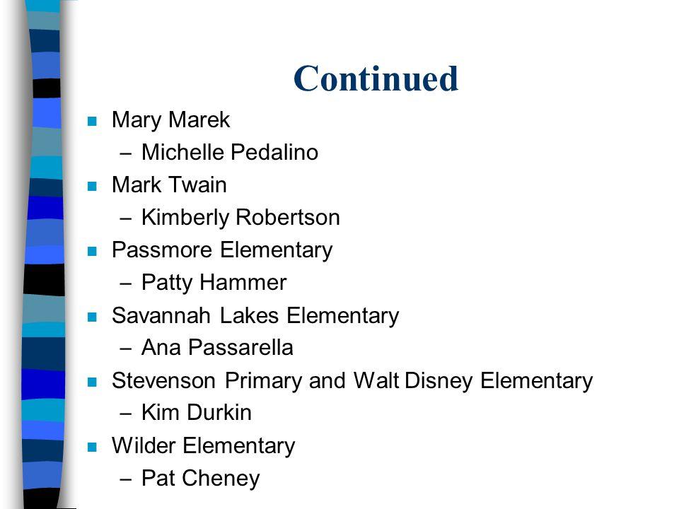 Continued n Mary Marek –Michelle Pedalino n Mark Twain –Kimberly Robertson n Passmore Elementary –Patty Hammer n Savannah Lakes Elementary –Ana Passar