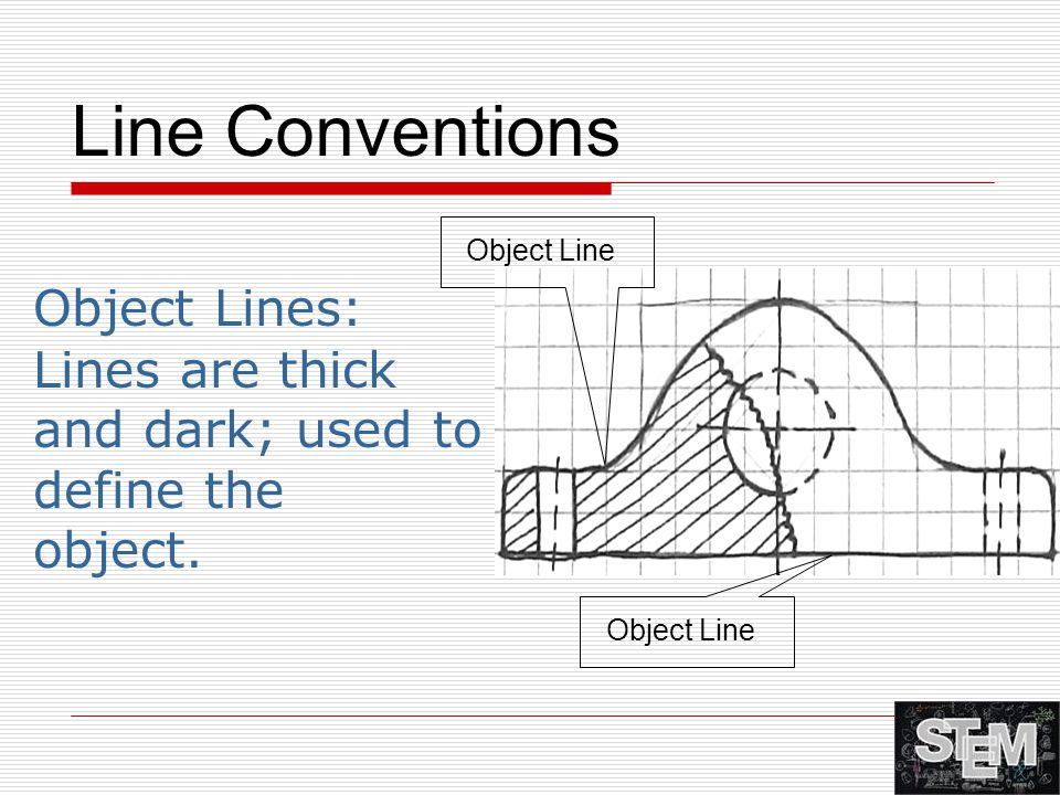 Line Conventions Object Lines: Lines are thick and dark; used to define the object. Object Line