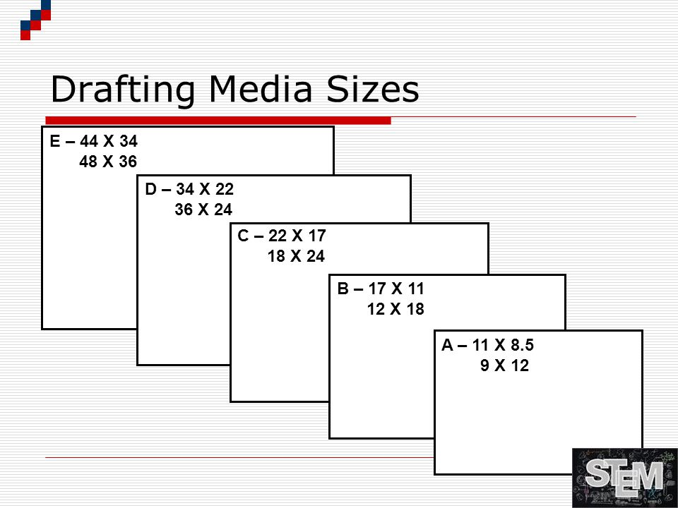 Drafting Media Sizes E – 44 X 34 48 X 36 D – 34 X 22 36 X 24 C – 22 X 17 18 X 24 B – 17 X 11 12 X 18 A – 11 X 8.5 9 X 12