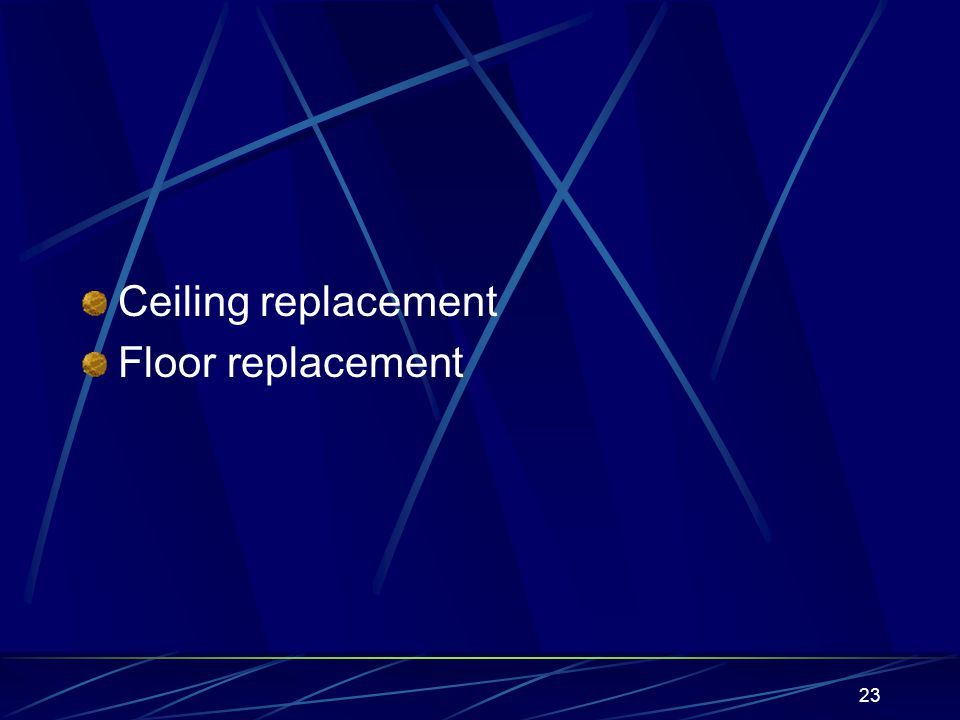 23 Ceiling replacement Floor replacement