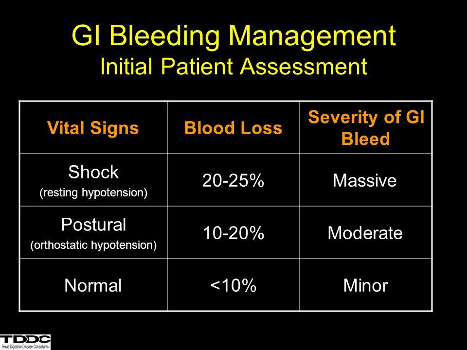 GI Bleeding Management Resuscitation 2 large bore peripheral IV's Normal saline or LR Packed RBCs Correct coagulopathy