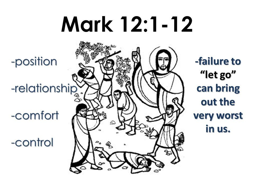 Mark 12:1-12 -position-relationship-comfort-control -failure to let go can bring out the very worst in us.