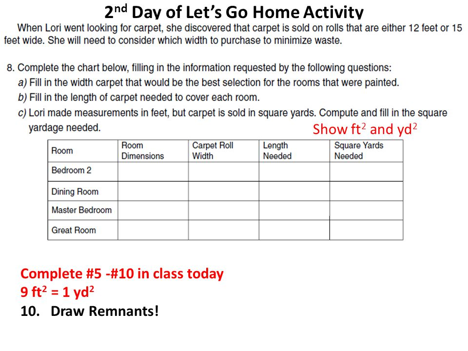 2 nd Day of Let's Go Home Activity Complete #5 -#10 in class today 9 ft 2 = 1 yd 2 10.