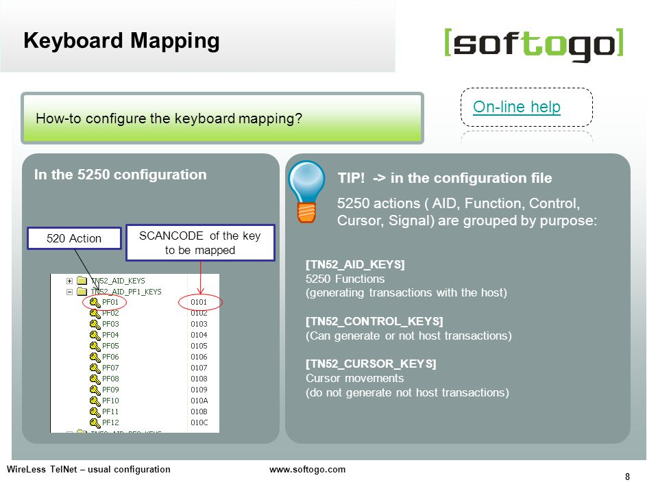 8 WireLess TelNet – usual configuration www.softogo.com How-to configure the keyboard mapping.