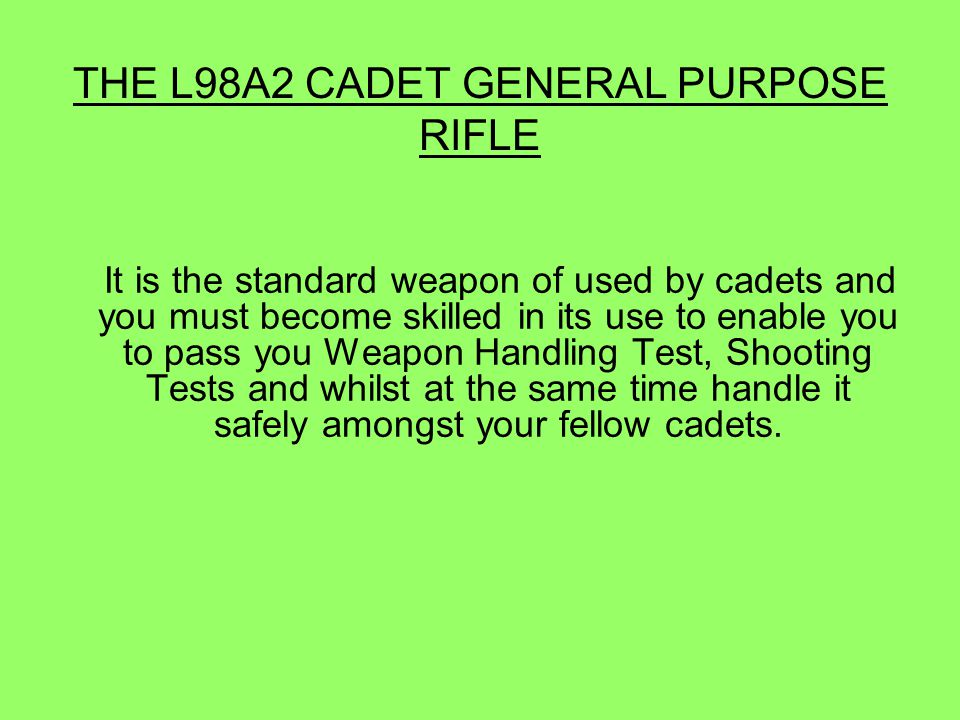 BASIC MECHANISM OF THE RIFLE WHEN THE SAFETY CATCH IS ON S THE TRIGGER CAN NOT BE FULLY OPERATED WHEN THE SAFETY CATCH IS MOVED TO F AND THE TRIGGER IS PRESSED, THE HAMMER IS RELEASED AND HITS THE REAR OF THE FIRING PIN.
