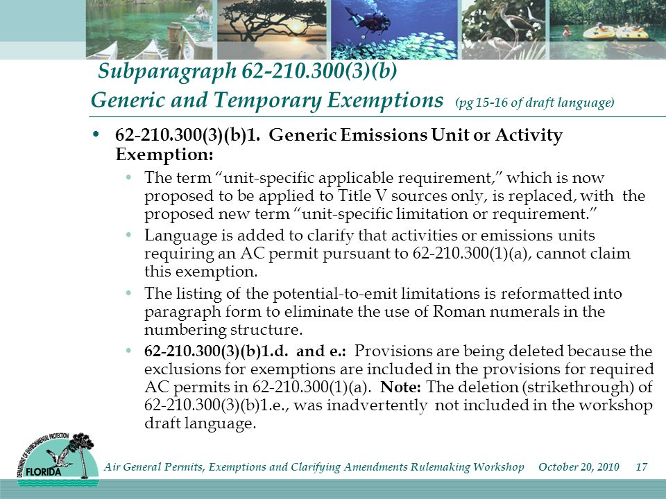 Subparagraph (3)(b) Generic and Temporary Exemptions (pg of draft language) (3)(b)1.