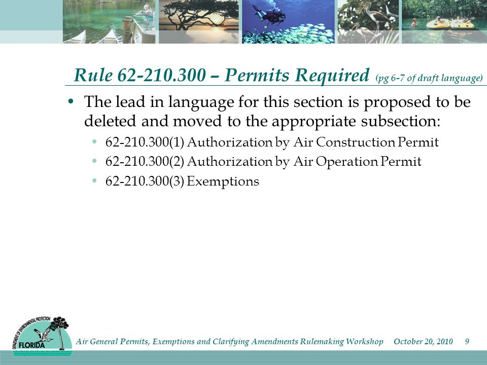 Rule – Permits Required (pg 6-7 of draft language) The lead in language for this section is proposed to be deleted and moved to the appropriate subsection: (1) Authorization by Air Construction Permit (2) Authorization by Air Operation Permit (3) Exemptions Air General Permits, Exemptions and Clarifying Amendments Rulemaking Workshop October 20,