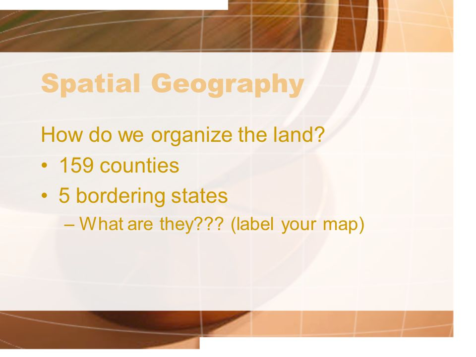 Places & Regions People create regions to understand the earth's complexities GA has 5 physiographic regions 18 islands 58,910 square miles of land 854 square inland water miles