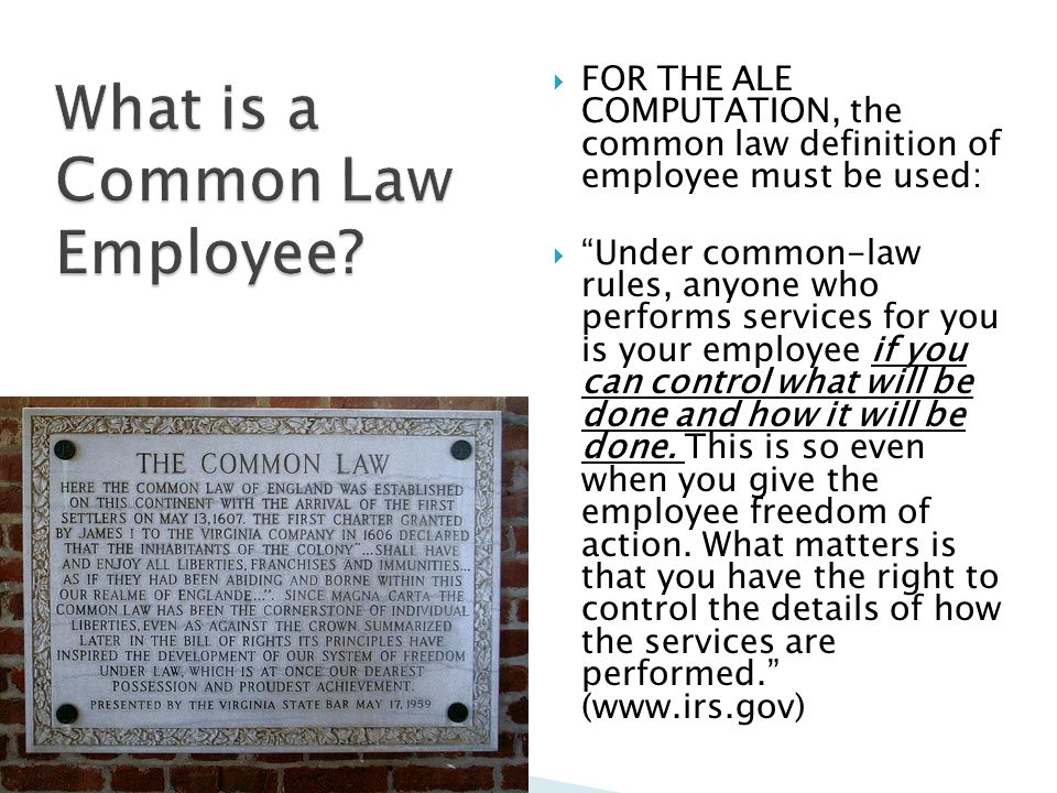  FOR THE ALE COMPUTATION, the common law definition of employee must be used:  Under common-law rules, anyone who performs services for you is your employee if you can control what will be done and how it will be done.