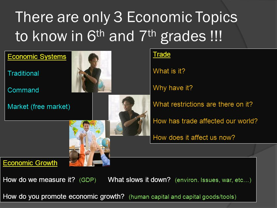 There are only 3 Economic Topics to know in 6 th and 7 th grades !!.
